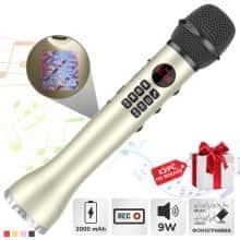Беспроводной вокальный микрофон для караоке + колонка Bluetooth Magic Karaokе L 598 с динамиком 9Вт, с трехуровневым подавлением шума для чистого звука + эхо – детский или взрослый портативный Luxury Golden