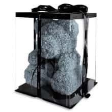 Мишка из роз 3D Bear 40 см Серый в красивой подарочной упаковке