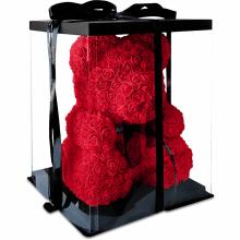 Мишка из роз 3D Bear 25 см Красный в красивой подарочной упаковке