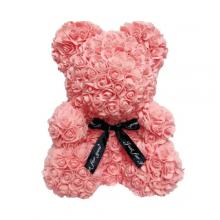 Мишка из роз 3D Bear 40 см Персиковый в красивой подарочной упаковке