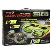 Автотрек с двумя неоновыми машинками на радиоуправлении JJ SLOT Glow Racing со светоэффектами, питание от сети 220V + 2 пульта ДУ (117887)