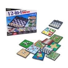 Набор настольных игр 12 в 1: шашки, шахматы, нарды, китайские шашки, лудо (парчис), змеи и лестницы, крестики-нолики, реверси, Скачки с препятствиями, солитер, го, игра-бродилка - InTrend Toys (109650)
