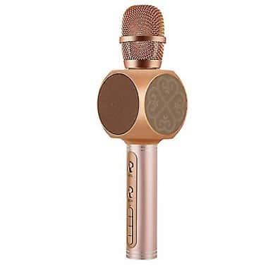 Беспроводной портативный Bluetooth микрофон для караоке Magic Karaoke YS-63 со сменой голоса (мужской, женский, детский) + блютуз колонка 2в1 с мембраной низких частот Rose