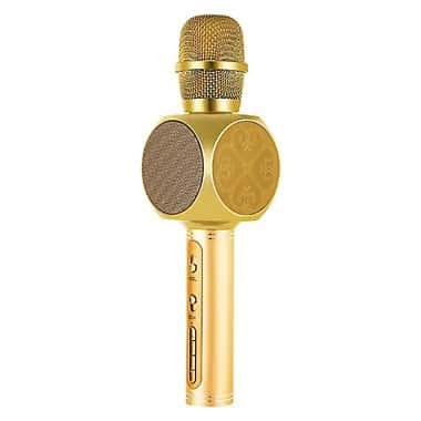 Беспроводной портативный Bluetooth микрофон для караоке Magic Karaoke YS-63 со сменой голоса (мужской, женский, детский) + блютуз колонка 2в1 с мембраной низких частот Golden