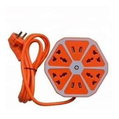 Сетевой фильтр-удлинитель Hexagon 4 розетки/4 USB Оранжевый