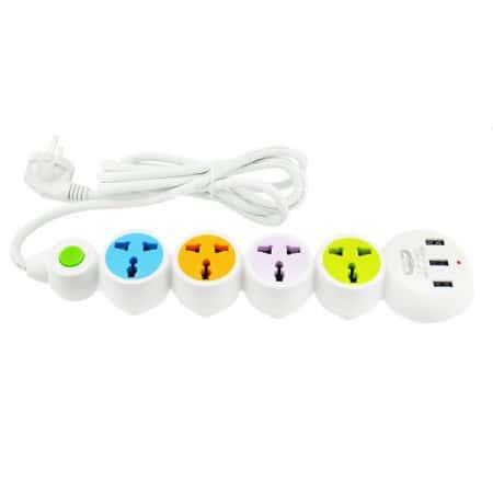 Сетевой фильтр-удлинитель Lucky Hawk LH305 K15 на 4 розетки и 3 USB, 1.8 м Белый