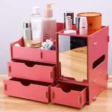 Органайзер для косметики и аксессуаров DIYS двухуровневый с 3 ящичками и зеркалом Красный
