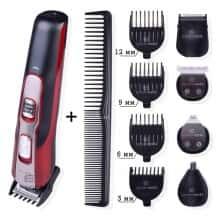 Машинка аккумуляторная набор  Gemei Gm-592 10 в 1 для стрижки бороды и волос Красно-черный