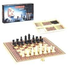 Настольная игра 3 в 1: шашки, шахматы и нарды Chess с деревянной доской (117188)