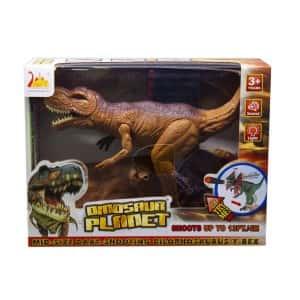 Интерактивный стреляющий Динозавр Тиранозавр Dinosaur Island Toys RS6186 со звуком и светом Коричневый (118300)