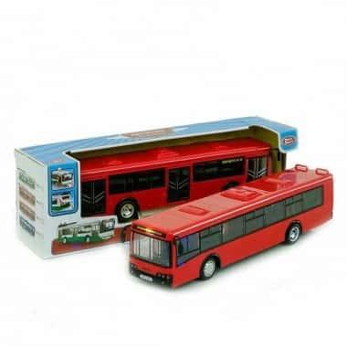 Автобус со звуками Автопром инерционный с открывающимися дверьми и багажником Красный (45329)