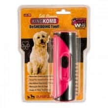 Расчёска для удаления шерсти KING KOMB DeSHEDDING Tool New инструмент для груминга животных и уменьшения линьки Розовый