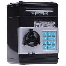 """Детская интерактивная электронная копилка """"Электронный сейф - банкомат"""" ITS с кодовым замком, купюроприемником для бумажных денег и отверстием для мелочи, Черная"""
