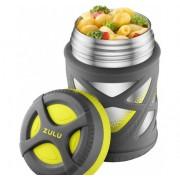 Термос для еды ZULU 355 мл с надежной защитой от проливания Серый/Зеленый