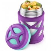 Термос для еды ZULU 355 мл с надежной защитой от проливания, Фиолетовый/Голубой