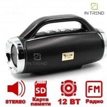 Музыкальная Колонка блютуз GOLON RX-1829 переносная - громкое стерео звучание + встроенный FM-радио + карт памяти MicroSD + AUX - Беспроводная портативная Bluetooth акустическая система для компьютера ноутбука телефона, Черный