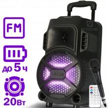 Портативная колонка Column ZQS-8101 USB переносная блютуз с LED подсветкой+ Bluetooth + проводной микрофон для улицы и дома - Музыкальная беспроводная акустическая караоке система с активным динамиком и встроенным аккумулятором, Чёрный