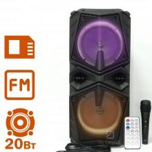 Переносная Column ZQS-8201 музыкальная беспроводная USB колонка с LED подсветкой - блютуз с мощными динамиками + пульт д/у + беспроводной микрофон для улицы и дома – Портативная акустическая Bluetooth система и аккумулятором, Чёрный