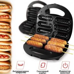 Электрическая Сосисочница – вафельница Sonifer hotdog maker F-6069 для сосисок - Хот - дог мейкер для приготовления хот-догов и корн-догов -аппарат сэндвичница - машинка гриль мощностью 700 Вт, Черная
