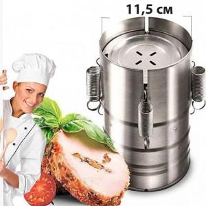 Домашняя качественная ветчинница шинковар Redmond HP-M02 с 3 объёмами – Компактная пресс-форма аппарат с нержавеющей стали для мяса, птицы, рыбы - Набор для быстрого приготовления ветчины и рулетов диаметром 11,5 см, Серебристая