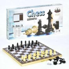 Игровой набор 3 в 1 Шашки, Шахматы и Нарды InTrend Toys Дерево + Пластик (103021)