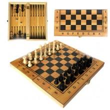 Игровой набор 3 в 1 Шашки, Шахматы и Нарды InTrend Toys Деревянный (106701)