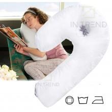 Подушка ортопедическая антиаллергенная с поддержкой шеи и спины Side Sleeper Подушка Рогалик универсальная Белая