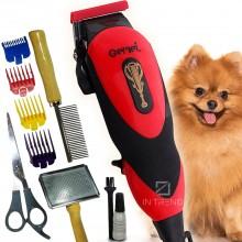 Профессиональная машинка для стрижки животных GM 1023 Набор для груминга + Расческа и Ножницы для собак и котов Красный
