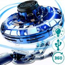 Летающий спиннер  PTW - электрическая игрушка летающая тарелка с LED подсветкой RGB USB портом – вращается в разные стороны на разных скоростях – трюковый для детей от 8 лет, Синий