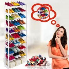Полка для обуви  Amazing Shoe Rack - Стойка – органайзер для хранения 30 пар обуви  с 10 полками – металлическая вместительная и компактная подставка для обуви - Регулируемая высота легкая сборка, Белая
