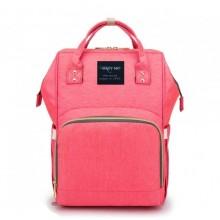 Вместительная и стильная сумка-рюкзак для мам Mummy Bag Розовая