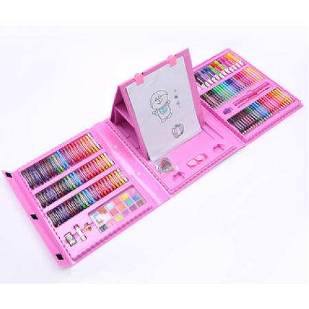 Набор для рисования и творчества в чемоданчике с мольбертом Super Mega Art Set 208 предметов Розовый