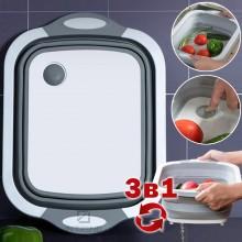 Многофункциональная складная разделочная доска корзинка 3 в 1 миска корзина туристическая для фруктов и овощей Белая