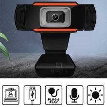 Веб камера для компьютера ноутбука 640×480 – хорошая веб камера для стрима 180 градусов - лучшая вебка со стеклянным объективом и автоматической коррекцией света  – встроенный высокочувствительный микрофон, Черная