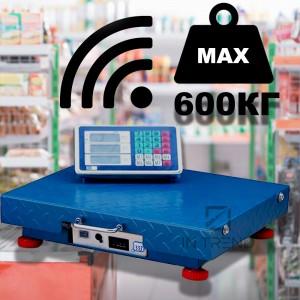 Весы торговые ACS OPERA OP-600WIFI Беспроводные -  промышленные весы для торговли в магазинах до 600 кг -  напольные точные магазинные весы для сельского хозяйства / производства / ветеринарии с тарой установкой цени и подсветкой, - Синие.