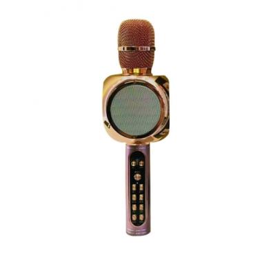 Беспроводной портативный микрофон для караоке и Bluetooth колонка с мембраной низких частот 2 в 1 Magic Karaoke YS-90 со сменой голоса (от высокого детского до брутально низкого) и кнопкой с аплодисментами, Rose Gold