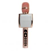 Беспроводной портативный микрофон для караоке и Bluetooth колонка 2 в 1 Magic Karaoke YS-91 со сменой голоса (от высокого до низкого) и кнопкой с аплодисментами, Rose Gold